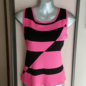 Finity Pink & Black Abstract Sweater Shell Top M